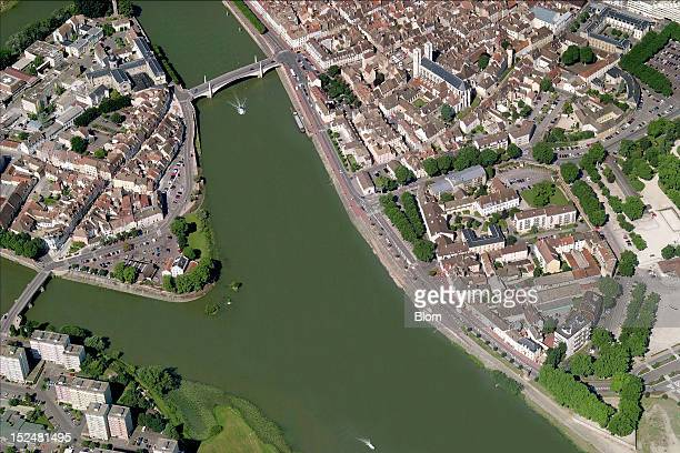 An aerial image of Cathedrale SaintVincent de ChalonsurSaone ChalonsurSaone