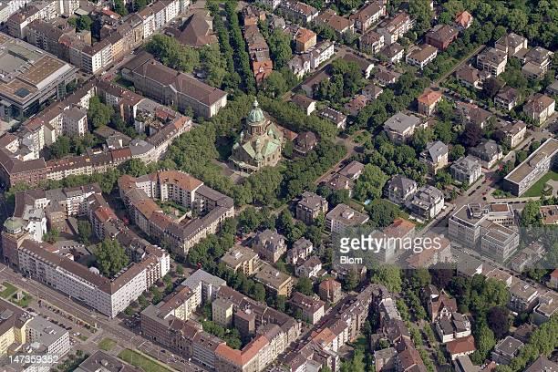 An aerial image of Christuskirche Mannheim