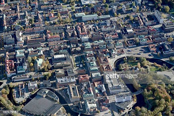 An aerial image of City Center, BorAas