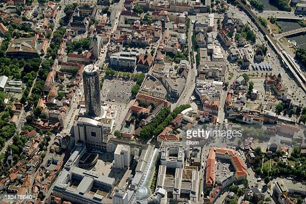 An aerial image of City Center Jena