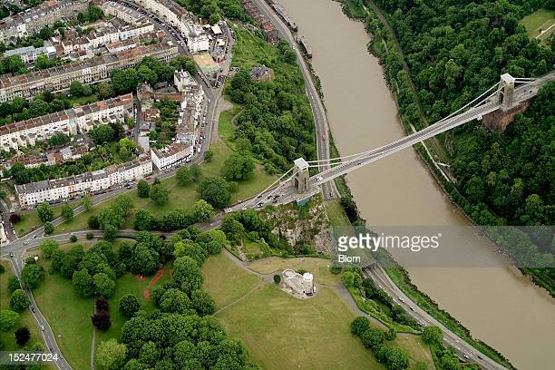 An aerial image of Clifton Suspension Bridge Bristol