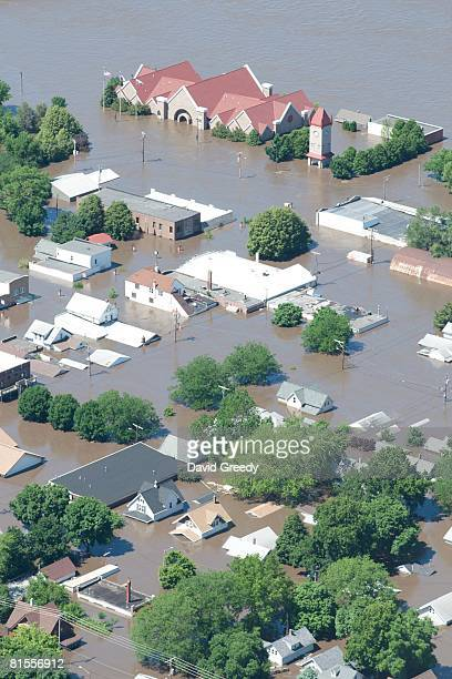 An aerial image of downtown shows flood-affected areas June 13, 2008 in Cedar Rapids, Iowa. Flooding along the Cedar River was expected to crest...
