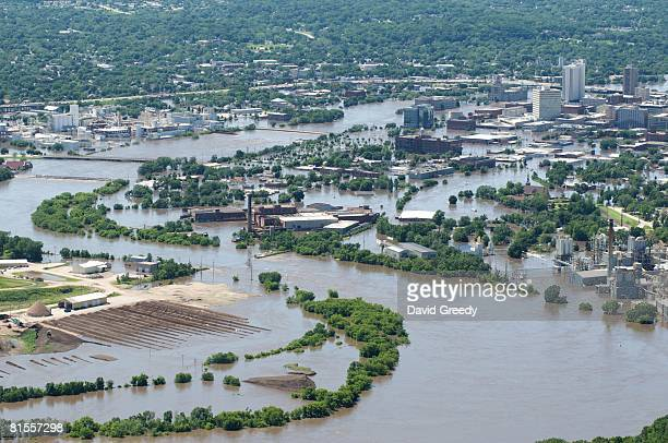 An aerial image of downtown shows flood-affected areas June 13, 2008 of Cedar Rapids, Iowa. Flooding along the Cedar River was expected to crest...
