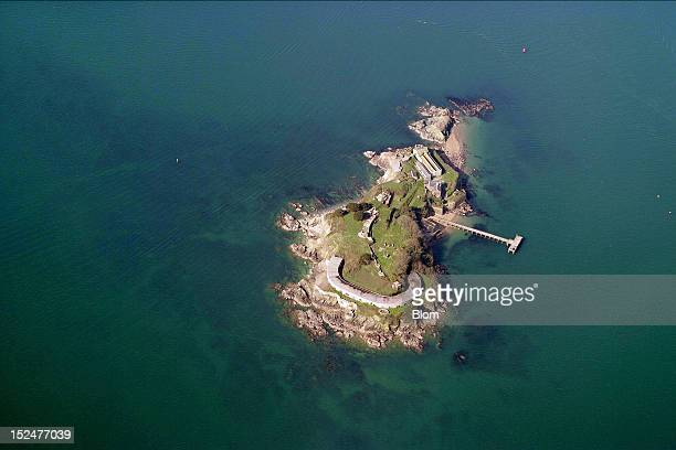 An aerial image of Drake´s Island, Plymouth