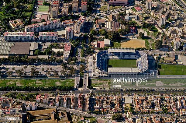 An aerial image of Estadio La Rosaleda Málaga