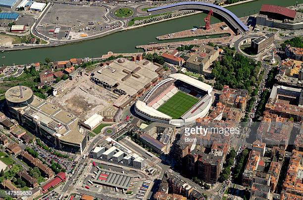 An aerial image of Estadio San Mamés Bilbao