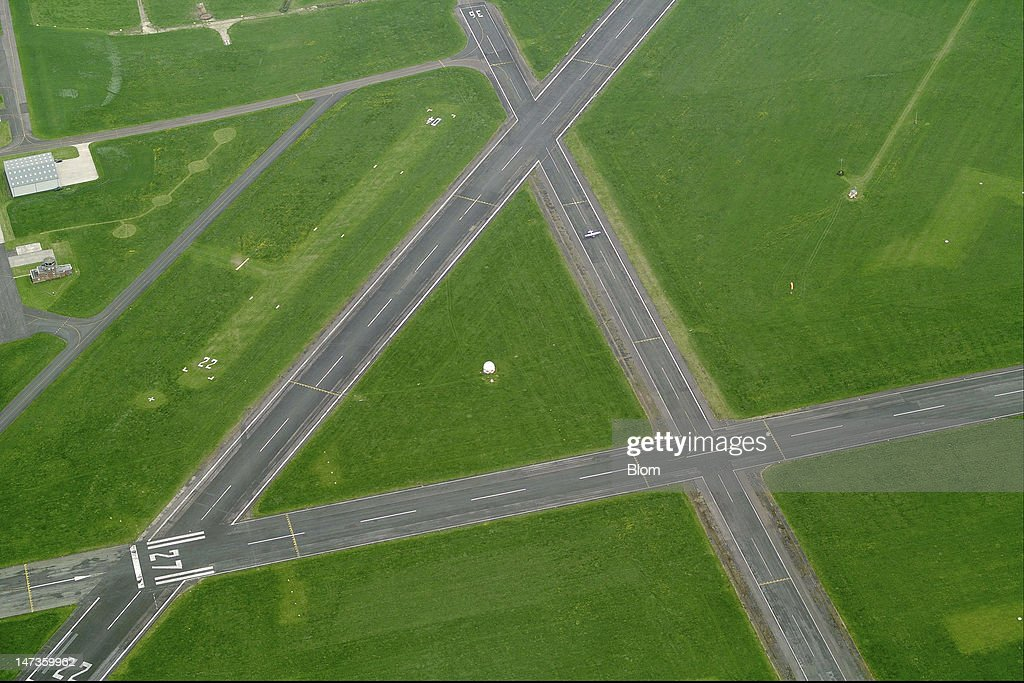 An aerial image of Gloucestershire Airport, Gloucester