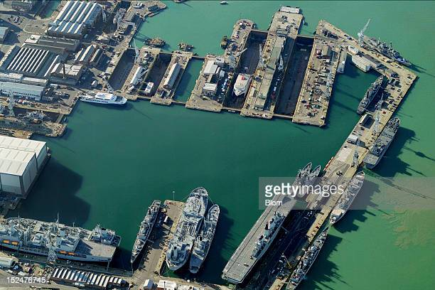 An aerial image of HM Naval base Portsmouth