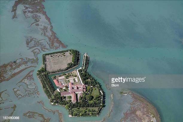 An aerial image of Isola di San Francesco del Deserto Venezia