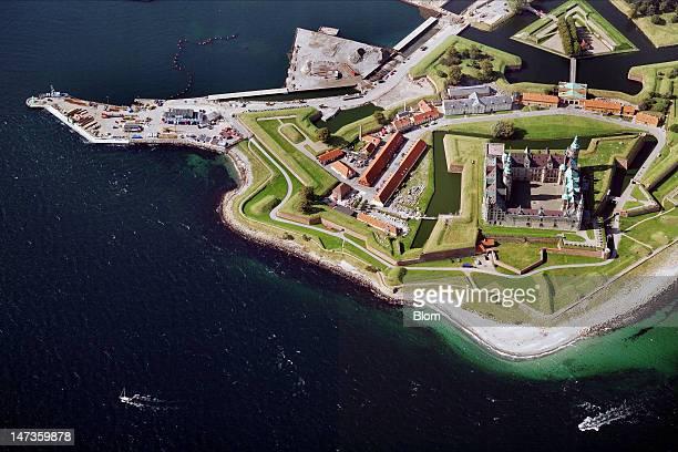 An aerial image of Kronborg Castle, Helsingør
