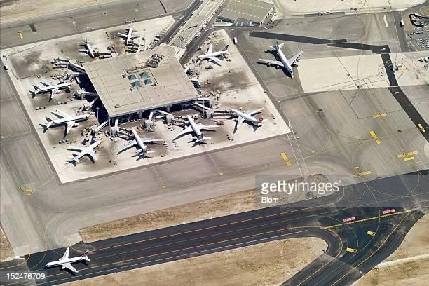 An aerial image of Leonardo da VinciFiumicino Airport Rome