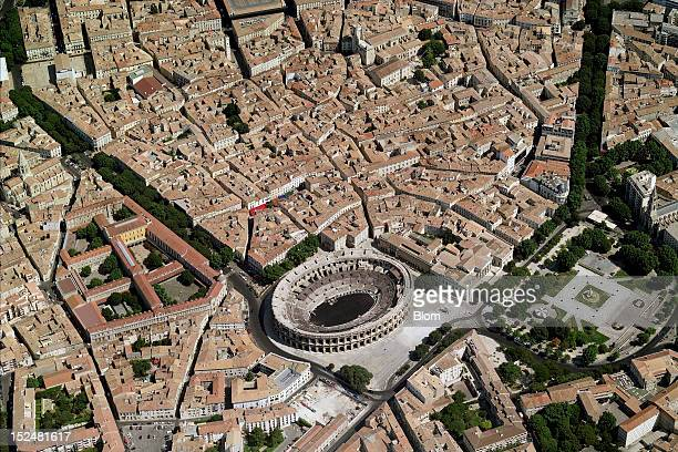 An aerial image of Les Arenes Nimes