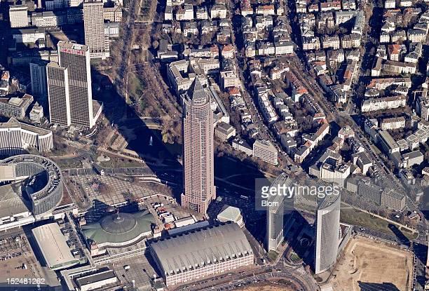An aerial image of Messeturm Frankfurt