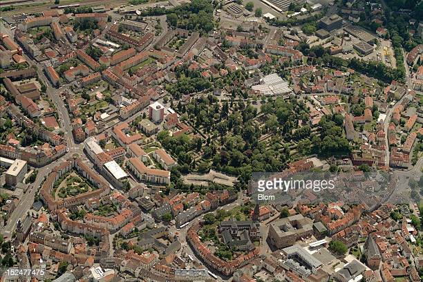 An aerial image of Old Town Aschaffenburg