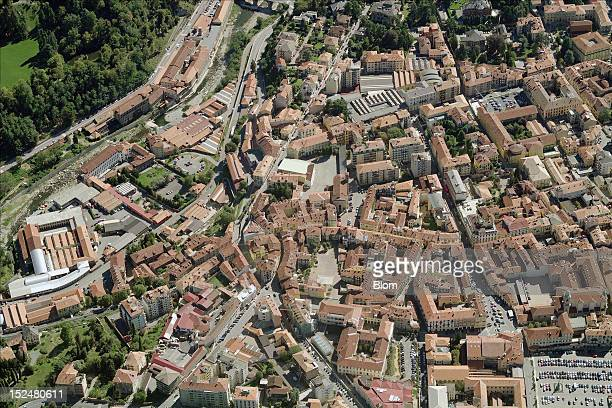 An aerial image of Old Town, Biella