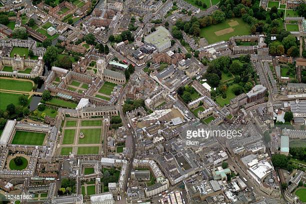An aerial image of Old Town Cambridge