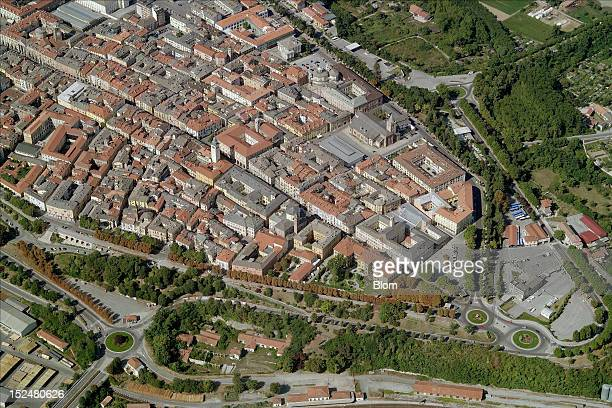 An aerial image of Old Town Cuneo
