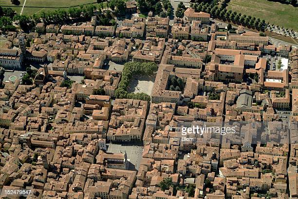 An aerial image of Old Town Lucca