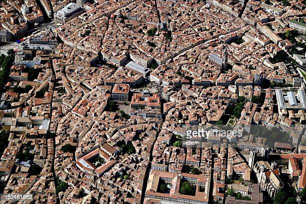 An aerial image of Old Town Montpellier