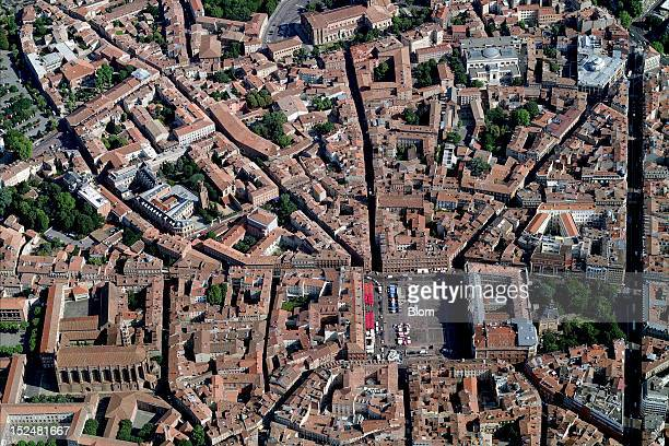 An aerial image of Old Town Toulouse