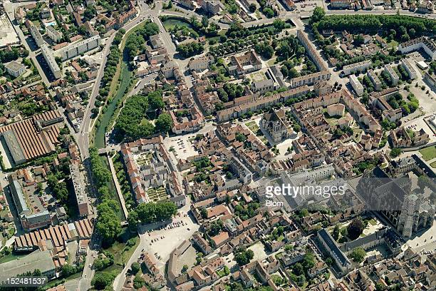 An aerial image of Old Town Troyes