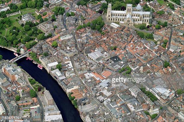 An aerial image of Old Town, York