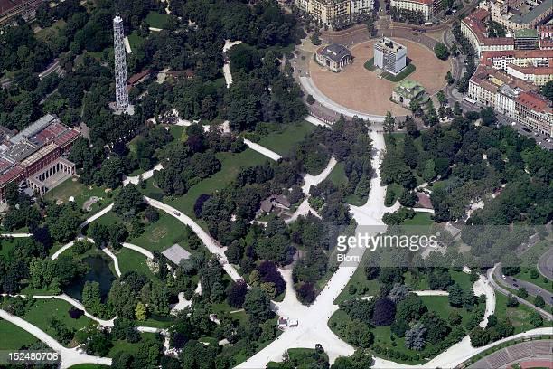 An aerial image of Parco Sempione Milan