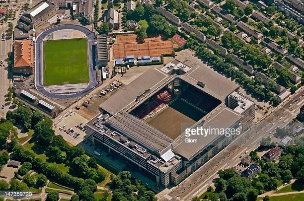 An Aerial image of Parken Stadium Copenhagen