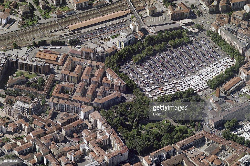 An aerial image of Piazza Campo del Palio, Asti