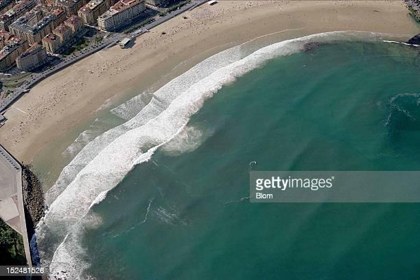 An aerial image of Playa De Zurriola San Sebastian