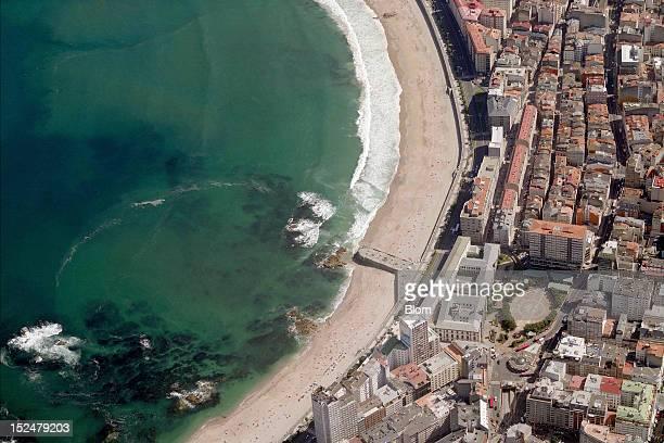An aerial image of Playa Riazor Riazor Beach A Coruna