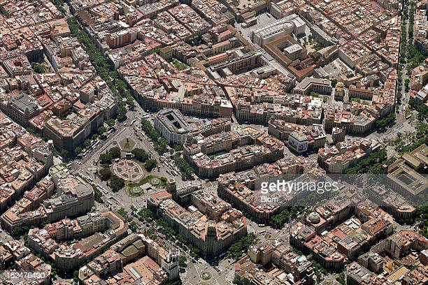 An aerial image of Plaza Catalunya Barcelona