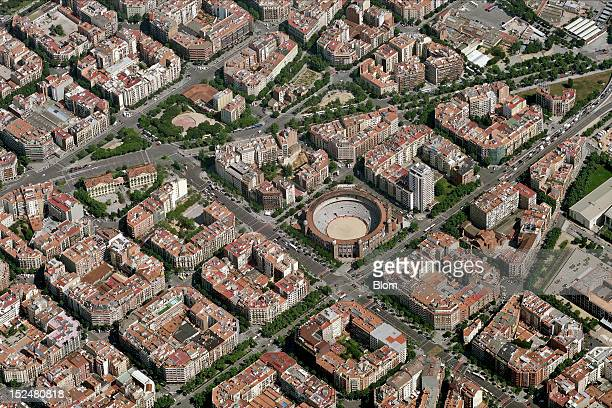 An aerial image of Plaza De Toros Monumental Barcelona