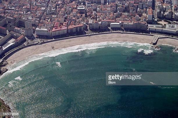 An aerial image of Riazor Beach A Coruna