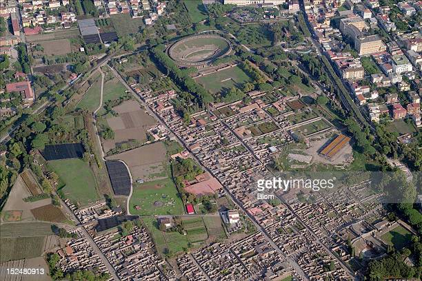 An aerial image of Ruins Pompei