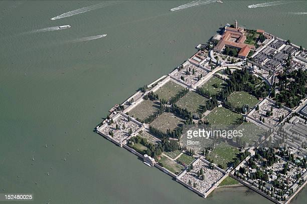 An aerial image of San Michele Cementery Venezia
