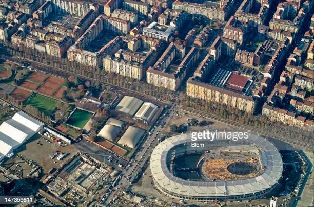 An aerial image of Stadio Olimpico di Torino, Turin