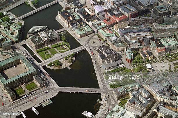 An aerial image of Sveriges Riksdag Stockholm