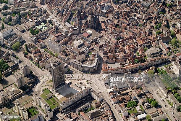 An aerial image of Temple Saint-Etienne, Mulhouse