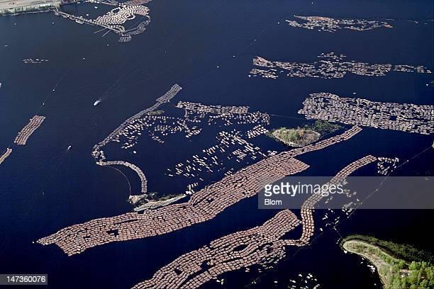 An aerial image of Timber Rafting, Lappeenranta