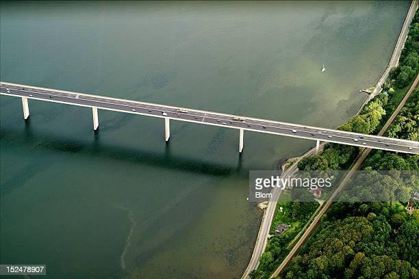An aerial image of Vejlefjord Bridge Vejle
