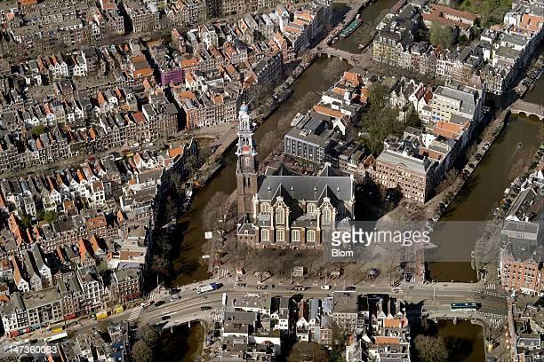 An aerial image of Westerkerk Amsterdam