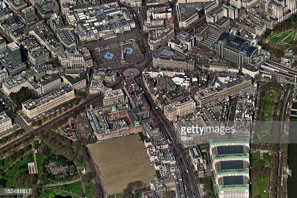 An aerial image of Whitehall, London