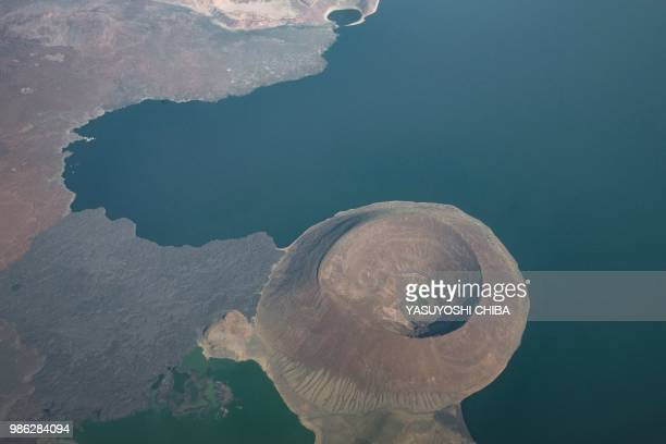 An aerial image shows a part of Lake Turkana the world's largest desert lake in nothern Kenya on June 28 2018 The World Heritage Committee meeting in...