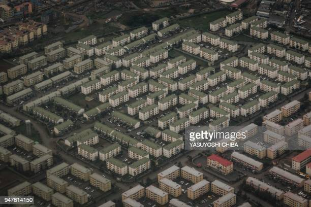 TOPSHOT An aerial image shows apartments of Nyayo estate in Nairobi on April 16 2018