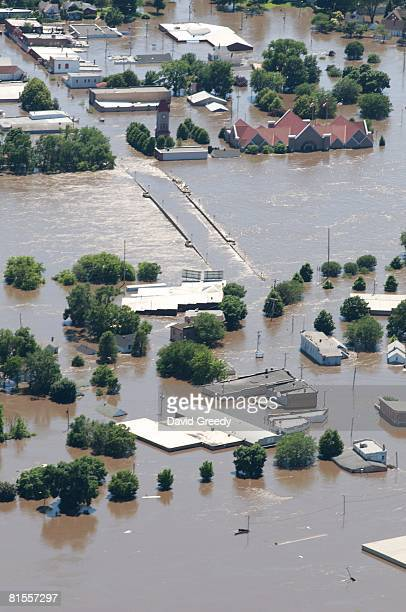 An aerial image shows flood-affected areas on June 13, 2008 of Cedar Rapids, Iowa. Flooding along the Cedar River was expected to crest today.