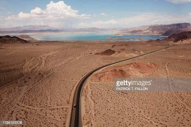 An aerial image shows Lake Mead on the Colorado River during low water levels due to the western drought on July 20, 2021 from Boulder City, Nevada....