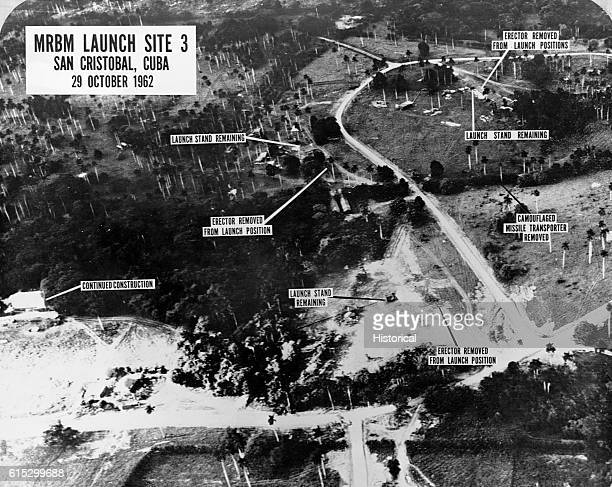 An aerial intelligence photograph of MRBM Launch Site 3 San Cristobal Cuba showing missile launch stands The photograph was taken during the Cuban...