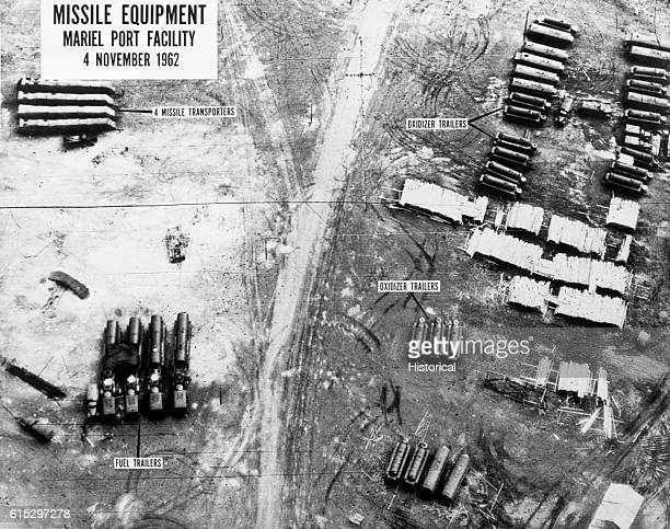 An aerial intelligence photograph taken of missile transporters oxidizer trailers and fuel trailers at the Mariel Port Facility in Cuba during the...