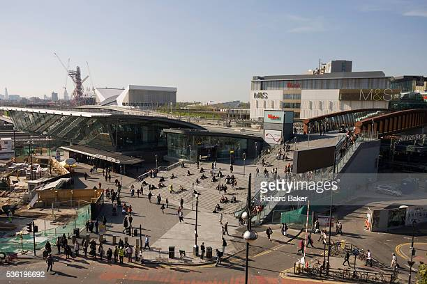 An aerial landscape of Westfield City shopping centre and Stratford rail station hub home and arrival point of the 2012 Olympics Situated on the...